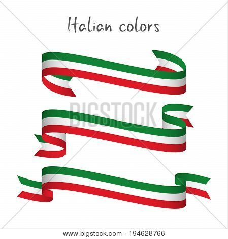 Set of three modern colored vector ribbon with the Italian tricolor isolated on white background abstract Italian flag Made in Italy logo