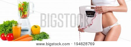 Diet Concept, Fresh Vegetables. Woman With Weight Scale.
