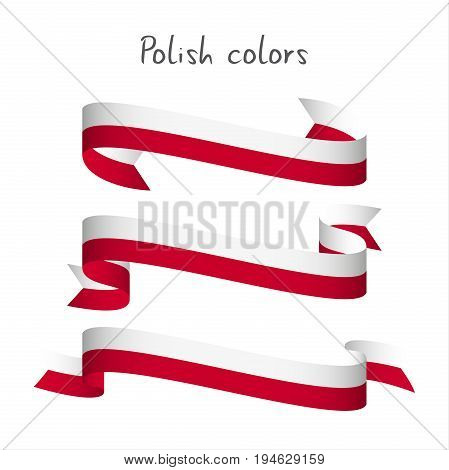Set of three modern colored vector ribbon with the Polish colors isolated on white background abstract Polish flag Made in Poland logo