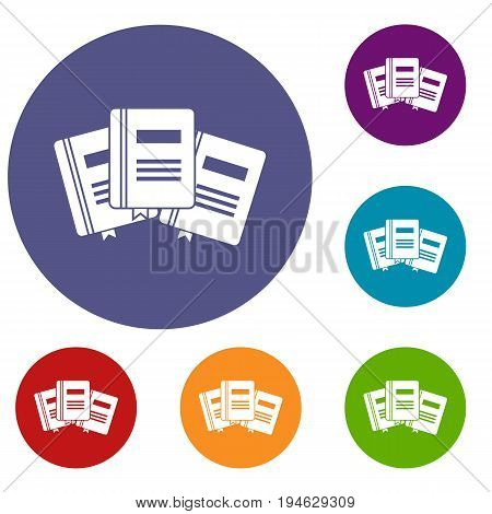 Three books with bookmarks icons set in flat circle reb, blue and green color for web