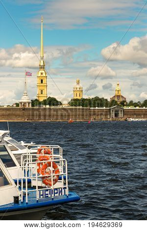 St. Petersburg, Russia - June 28, 2017: Panoramic View Of The Peter And Paul Fortress From The Neva