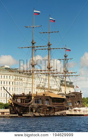 St. Petersburg, Russia - June 28, 2017: Panoramic View Of The Restaurant - Frigate From The Neva Riv