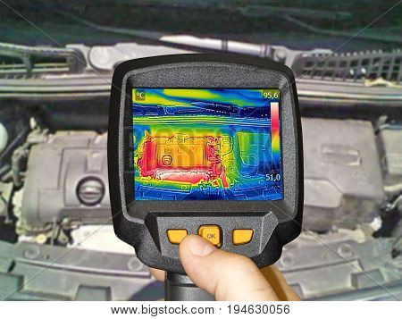 Recording Car Engine After driving With Thermal Camera