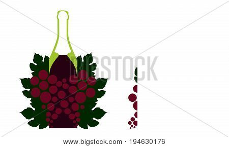 A bunch of grapes.Vector set of bottle for alcohol.Wine list.Bottle background.Glasses for alcoholic drinks.Design for cocktail party.