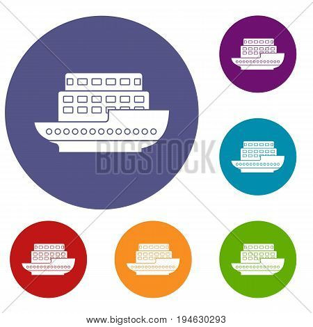 Large passenger ship icons set in flat circle reb, blue and green color for web