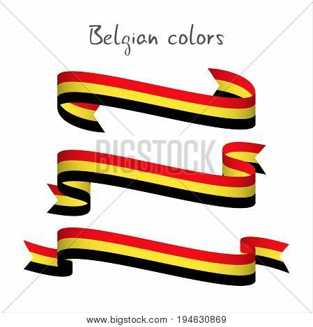 Set of three modern colored vector ribbon with the Belgian tricolor isolated on white background abstract Belgian flag Made in Belgium logo