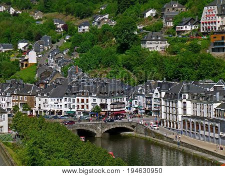 Beautiful townscape with the hillside village of Bouillon, an aerial view from Bouillon Castle, Belgium