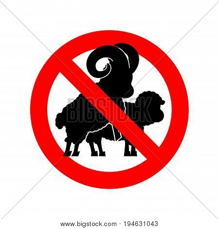Stop Sheep Sex. Ban Warning Ram Intercourse. Red Prohibitory Sign