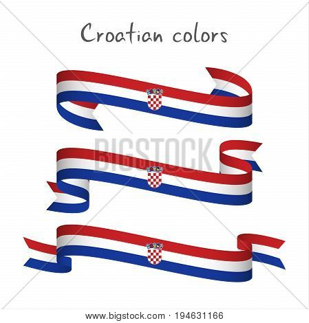 Set of three modern colored vector ribbon with the Croatian tricolor isolated on white background abstract Croatian flag Made in Croatia logo