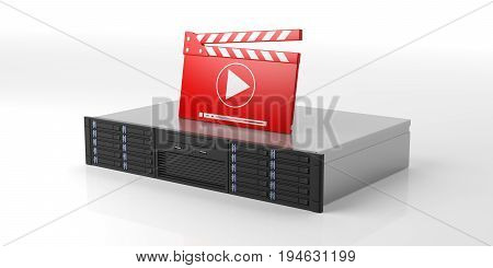 Computer Server Storage Unit And Movie Clapper On White Background. 3D Illustration