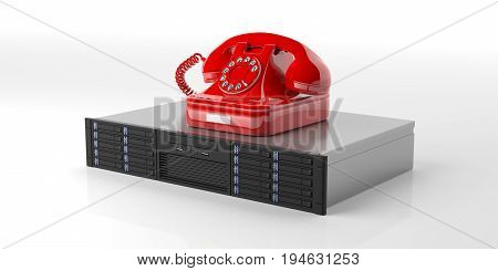 Computer Server Storage Unit And A Retro Telephone On White Background. 3D Illustration