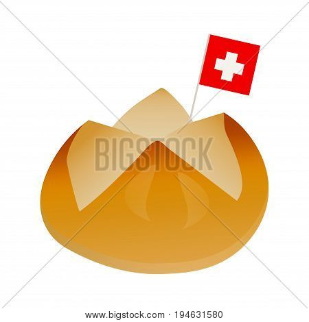 Minimalistic illustration for Swiss National Day: the first august bread baked to celebrate national holiday of Switzerland with swiss flag.