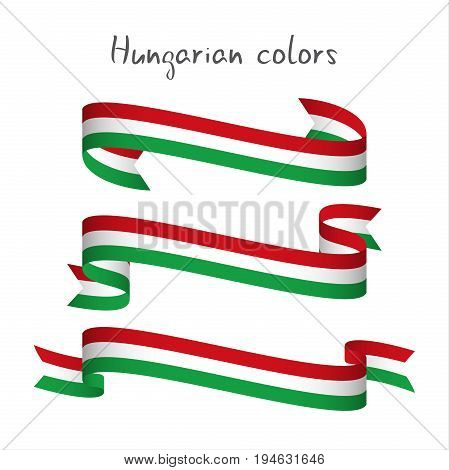 Set of three modern colored vector ribbon with the Hungarian tricolor isolated on white background abstract Hungarian flag Made in Hungary logo