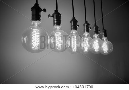 Group of Incandescent bulbs for home furnishings or restaurants style vintage black and white tone.