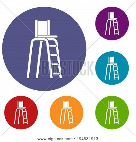 Tennis tower for judges icons set in flat circle reb, blue and green color for web