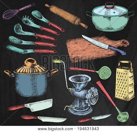 Kitchenware set. Beautiful tableware and kitchen utensils illustration on the chalkboard background