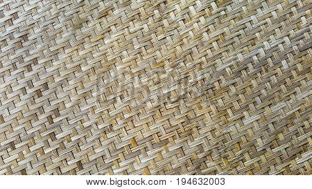 Closeup of textures and patterns of bamboo basketwork use for household equipment and tools in ancient times.