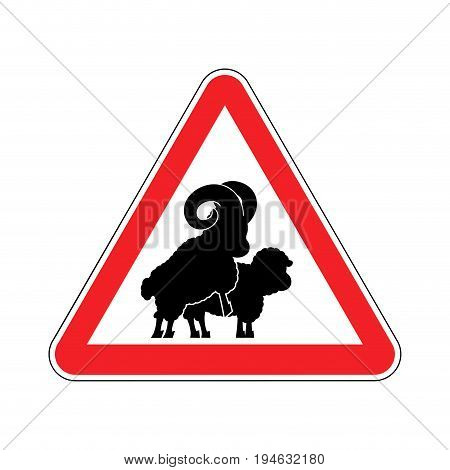 Attention sheep sex. warning ram intercourse. Red prohibitory sign