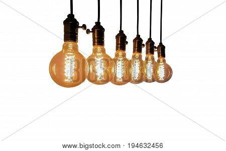 Group of Incandescent bulbs for home furnishings or restaurants style vintage isolated on white background.