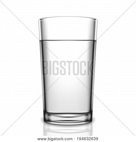 Transparent glass of water isolated on white background