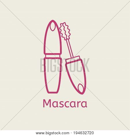 Vector cosmetic mascara line icon. Mascara brush thin linear signs for makeup and visage. Cosmetic for eyelesh.