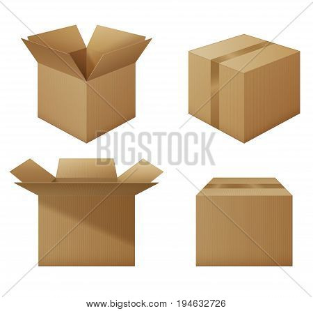 Set of opened and closed cardboard boxes collection of mockups delivery packaging set. EPS 10 contains transparency.