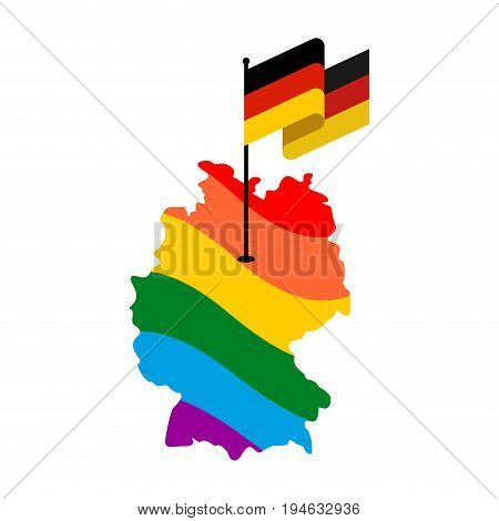 Lgbt Germany. Map Of Deutschland And Flag. European Union Country Permission Of Same-sex Marriages