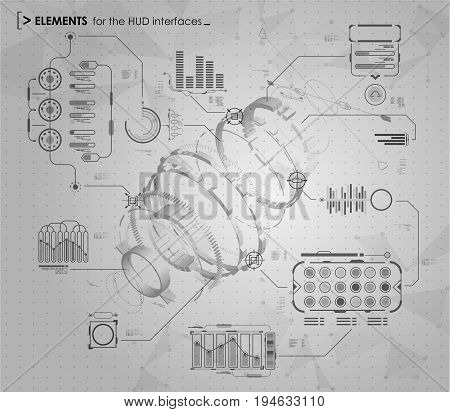 black and white infographic elements. HUD UI for business app. Futuristic user interface. Abstract virtual graphic touch user interface.