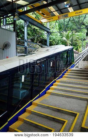 PENANG MALAYSIA - JUNE 292017 : A tram ready to go uphill to Penang Hill Malaysia. A favourite tourism spot among locals and foreign tourists.