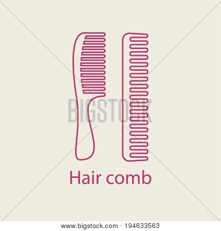 Hair comb line icon. Thin linear hairbrush icon. Device for combing hair thin signs for visage