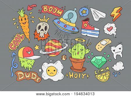 A set of cartoon stickers. Comic doodles.
