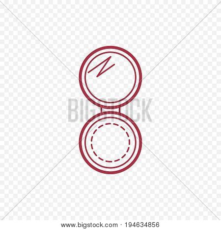 Open open compact powder thin line icon. Simple make up powder mirror icon illustration isolated outline.