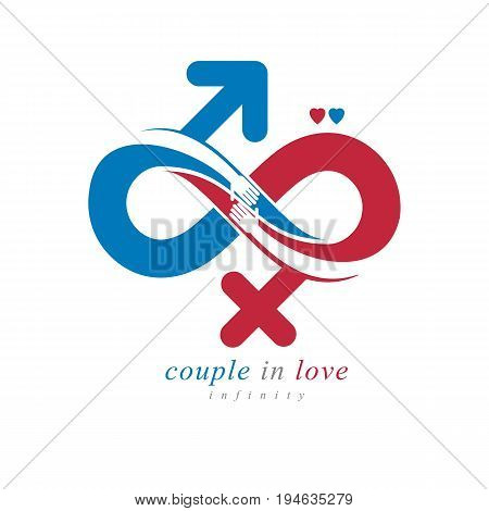 Timeless Loving Couple concept vector symbol created with infinity sign and male Mars an female Venus signs. Relationship creative idea.