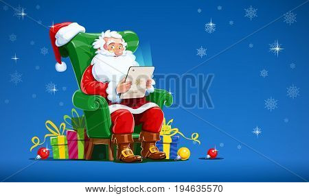 Santa claus sit in armchair with tablet. Christmas character gift. Winter holiday. Isolated white background. Vector illustration.