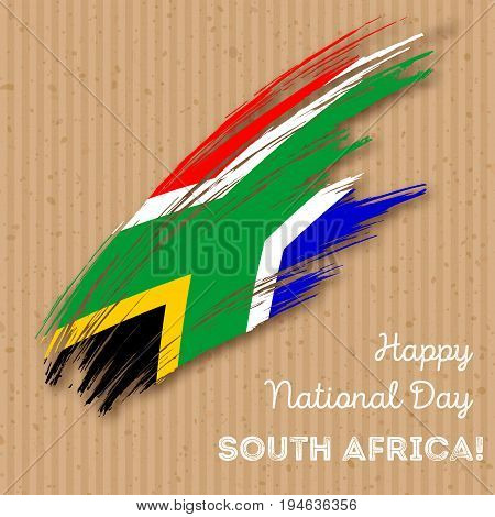 South Africa Independence Day Patriotic Design. Expressive Brush Stroke In National Flag Colors On K