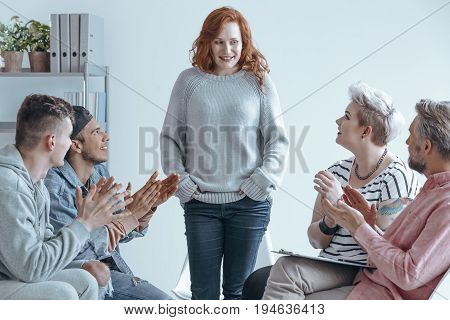 girl feeling relief at a therapy meeting