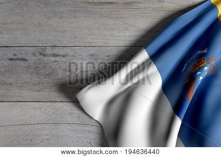 Canarias Flag On Wood