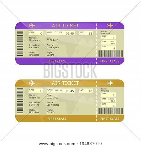 Airline boarding pass tickets. Travel or business tour