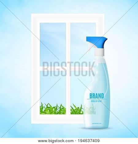 Bottle of the liquid for washing window. Window cleaning concept. 3d illustration. EPS10 vector