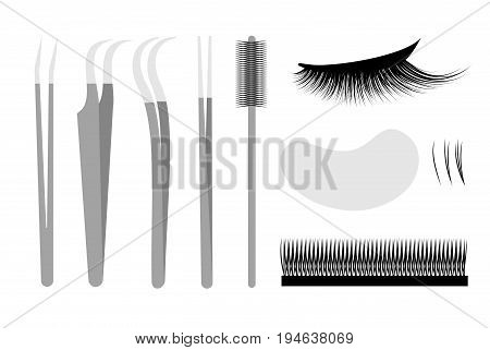 Eyelash extension. Set Professional tools tweezers and brush. False cilia