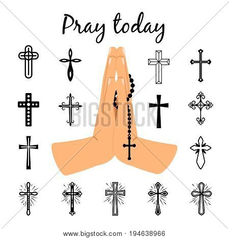 Catholic praying hands holding rosary beads and christian crosses signs. Vector prayer symbols isolated on white background