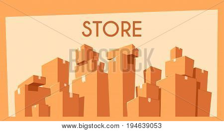 Moving with boxes. Transport company. Cartoon vector illustration. Fast delivery. Relocation assistance
