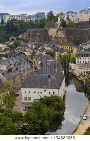 A beautiful cityscape of old town in Luxembourg city