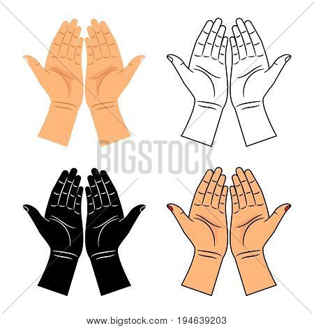 God pray blessed hands icons. Vector hands of praying men and women vector illustration