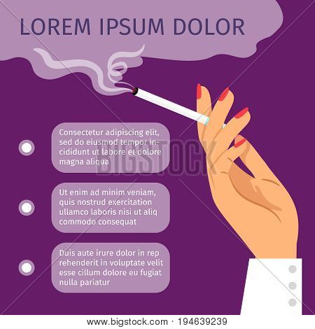 Smoking girl hand with cigarette. Smoking area vector poster with text