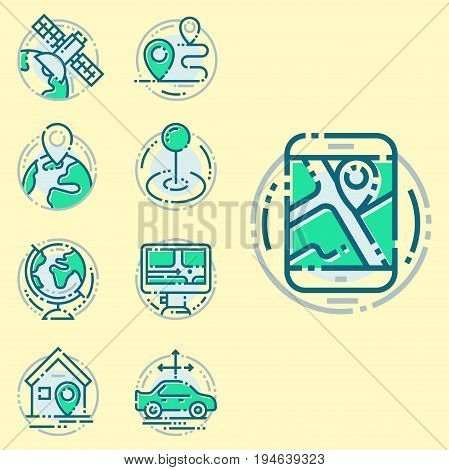 Navigation direction maps signs, traffic and more thin line icons set vector illustration. Navigator gps location arrow business technology and modern way cartography transportation travel design.