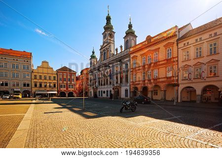 CESKE BUDEJOVICE CZECH REPUBLIC - JULY 05 2016: Central town square with town hall building and clock tower