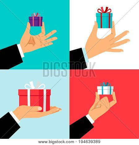 Hand holding small gift box set. Hands giving presents for offering or christmas concepts. Vector illustration