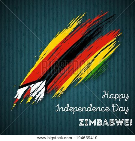 Zimbabwe Independence Day Patriotic Design. Expressive Brush Stroke In National Flag Colors On Dark