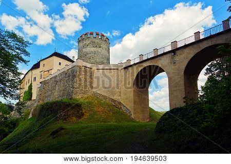 CESKY STERNBERK CZECH REPUBLIC - MAY 17 2016: Entry bridge and main castle tower view from former moat